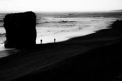 The Meeting (^Diana^) Tags: 5112a iceland reykjavik ice beach landscape seascape blackandwhite rocks waves sand sea dark light meeting secret