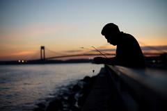 Fishing Line (dtanist) Tags: nyc newyork newyorkcity new york city sony a7 canon fd 50mm brooklyn shore road promenade gravesend bay esplanade bath beach fishing fisherman verrazano narrows bridge sea evening