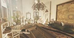 Not too shabby.... (kellytopaz) Tags: shabby chic bedroom sunlight bed sink desk plants dog curtains