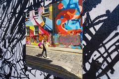 Hippie Chick (ShrubMonkey (Julian Heritage)) Tags: hippiechick london street mural art streetart urban graffiti candid people reflections chancestreet