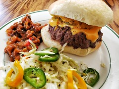Cheeseburger and sides (jeffreyw) Tags: cheeseburger pickle sammich sandwich slaw bakedbeans lunch dinner onions mustard