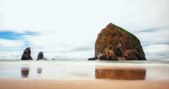 The Famous Haystack (KPortin) Tags: haystackrock cannonbeach longexposure cloudy beach reflection