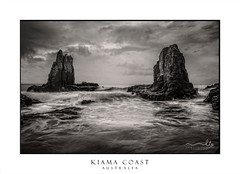 Dramatic skies above  coastal sea stacks (sugarbellaleah) Tags: sky weather moody stormy ocean waves surge seastacks rocks geology seascape landscape rocky coast coastline clouds thunder water surf rough tide kiama australia scenic movement motion birds shore dramatic turbulent cathedralrocks