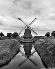 Dutch Mill (iPhone Fotograaf) Tags: landscape blackandwhite iphone8plus groningen dutch reflection windmill