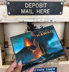 Today's Outgoing Mail: Metal Volcano Postcard • Have you been keeping up-to-date with the news of Kilauea Volcano? #usps #mail #snailmail #sendmoremail #postcard #postcrossing #postcrosser #metalpostcard #hawaii #volcano #kilaueavolcano (iheartmail) Tags: usps mail snailmail sendmoremail postcard postcrossing postcrosser metalpostcard hawaii volcano kilaueavolcano