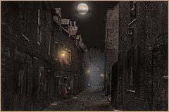 """The Victorian slums of London 1888"" (martinshore) Tags: victorian slums lamps lights lane london smoke the"