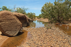 Outback picnic spot (aussiegypsy_Katherine NT) Tags: edith river nt topend katherine northernterritory water billabong backwater fresh wet season rocks rocky scene scenery landscape trees stony bluesky nature outdoors australia aussiegypsy lorraineharris australian aussie waterhole calm peaceful clouds white puffy outback remote isolated seasonal country gumtrees reflections riverbed paperbark eucalypt boulders