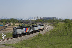 Spinning on the Sport Line (sully7302) Tags: nj transit gp40ph2 4105 cnj gp40p pl42ac emd alstom passenger meadowlands rail photography wye city humid bloom spring metlife stadium scenic train trains railroad transport industrial urban