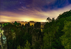 Bastai at Night (1durch0) Tags: bastai dresden elbsandsteingebirge milkyway germany stars nebel sunset trees tree bäume saxon sachsen landscape nature night sterne