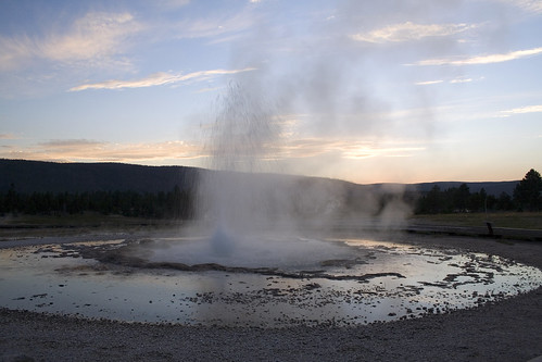 Sawmill Geyser at Sunset