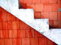 Stairs (Nicote) Tags: red orange white up stairs down stairway menatwork constructionsite