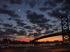 Perfect Night (Harpo42) Tags: city bridge sunset philadelphia weather skyline clouds franklin dusk camden nj dramatic pa philly benjamin benfranklin patco delawareriver campbellsfield drpa