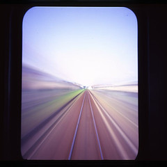 A track spreads out (shikihan) Tags: window japan holga track pinhole straight ibaraki rairway