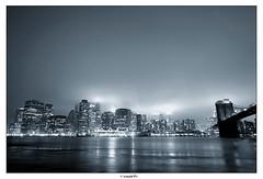 (Arnold Pouteau's) Tags: nyc newyorkcity bridge blue newyork brooklyn night downtown manhattan dumbo brooklynbridge spot2