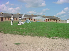 Soldiers shooting muskets (g33kgrrl) Tags: history august 2006 fortsnelling historicsite 1827