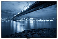Under the Manhatttan Bridge - NYC by Night (Arnold Pouteau's) Tags: nyc newyorkcity blue brooklyn night manhattan dumbo manhattanbridge eastriver