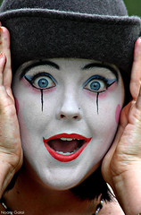 Scared Clown (noamgalai) Tags: usa eye smile hat smiling photography bigeyes us photo big hands clown blueeyes picture photograph surprise surprised catskills fare noam whiteface allrightsreserved amazed   amaze photomania  noamg galai noamgalai   scaredclown aplusphoto wwwnoamgalaicom