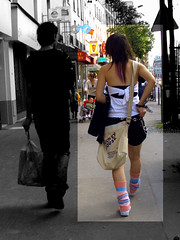 T'as le look coquette (lavomatic) Tags: fashion mickey explore bracelet rue mode teeshirt chaussettes