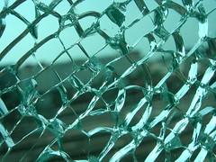 glass pane, shattered