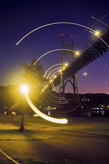 Orbiting the Bridge (Zeb Andrews) Tags: portland dusk nikonfm2 fujivelvia50 stjohnsbridge bluemooncamera zebandrews zebandrewsphotography