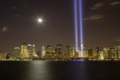 9.11.06 (kotobuki711) Tags: city ny newyork skyline night topf75 anniversary 911 nj explore neverforget libertystatepark tributeoflights p1f1