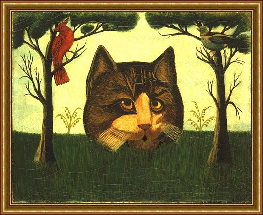 American Primitive, Landscape with Cardinal, Passenger Pigeon and Enormous Cat Head