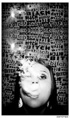 .coming.soon. (.SANCHEZ.) Tags: blackandwhite bw woman white black earings wall contrast movie poster nose interesting eyes sister smoke steph smoking explore movieposter bitch sanchez kennysanchez