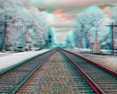 3D Anaglyph Color Infrared RR Tracks 002 (Joseph L. Harris  (www.jlh-photo.com)) Tags: ohio usa color digital d50 ir us 3d nikon unitedstatesofamerica rr anaglyph stereo infrared colorinfrared cir infrarot hyatts
