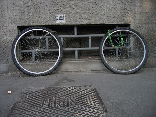 photo of wheels without bike (theft)
