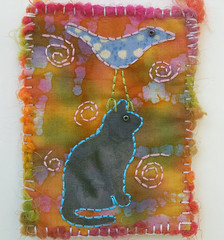 Folk Art Bird & Cat Miniature Art Quilt ACEO (ceramicscapes) Tags: bird atc cat folkart quilt aceo minature