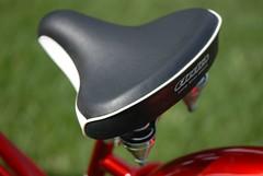 The seat (javame) Tags: red white bike bicycle nikon d200 cruiser electra 3speed twowheels candyapplered nikond200 electrabike 2006model redwhitered electrabicycle cruiserdeluxe ladiesbike ladiesbicycle
