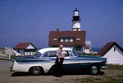 '56 Desoto in front of Portland Head Light July 1966 (Jerub Baal) Tags: ocean sea vacation lighthouse vintage maine atlantic 1956 desoto foundphotos vintagevacation seaboard 4door fireflite forwardlook defamily