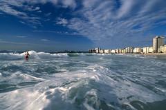 Copa (laszlo-photo) Tags: ocean blue brazil film beach rio brasil riodejaneiro analog landscape surf waves atlantic copacabana velvia foam brazilian scs lifetravel