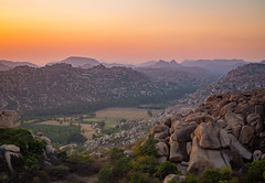 Sunset in Hampi (TeunJanssen) Tags: sunset goldenhour anjaneya anjeyanadri hill hampi india asia backpacking karnataka travel olympus omd omdem10 25mm landscape sun rocks view sky