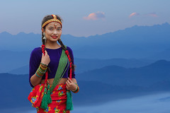nepali girl in traditional dress (trying to catch up again !!!) Tags: nepal nepali belgium leuven nepaligirl newyear newyear2075 mountains morning morninglight traditionaldress ivodedecker portrait landscape outdoor outside travel fog