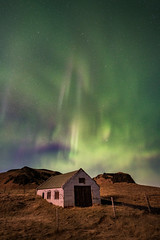 Green Lights (lukejc1) Tags: night northernlights winter astrophotography stars auroraborealis nightscape nightsky locations southiceland barn months seasons iceland march vik sky farming ringroad europe rustic farm european travel vikimyrdal vík víkímýrdal countryside darksky farms nightphotography rural season