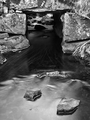 Water from Stone II (SGarriott) Tags: sgarriott scottgarriott olympus omd em5ii 1240mmf28 nature norway norge natur stream creek water flow stone bridge longexposure stein blackwhite bw monochrome