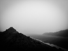 Foggy Construction Site 1 (michaelwalker19) Tags: fog blackandwhite ethereal mountain eerie misty
