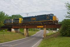 KCS Mexico Departure (1 of 4) (tim_1522) Tags: railroad railfanning rail mo missouri kcs roodhouse sub subdivision overpass intermodal generalelectric gevo es44ach csx ac44cw es44ac emd sd70ace