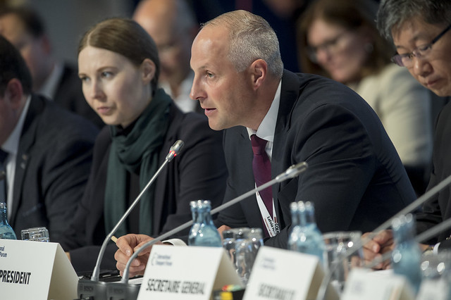 Kaspars Ozoliņš speaks at the Closed Ministerial
