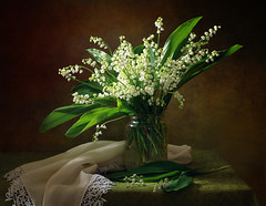 With a bouquet of lilies of the valley (Tatyana Skorokhod) Tags: bouquet lilyofthevalley flowers stilllife abigfave