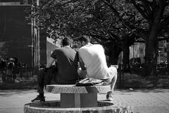 The brothers (onemanifest) Tags: men together fun muslim sharing brothers sunlight sunny table outside summer trees amsterdamwest film analog monochrome blackwhite gentrification minoltaxd7 minoltamdrokkor85mm117