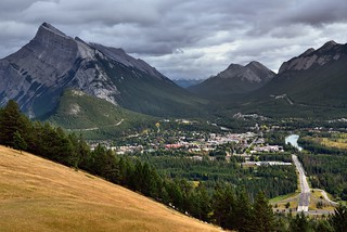 Banff While Nestled Amongst the Mountain Peaks of the Canadian Rockies