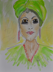 Green Turban Lady (BKHagar *Kim*) Tags: bkhagar sketch drawing art artwork artday watercolor watercolour turban lady woman female green