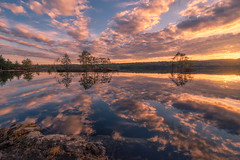 Radiating (lonekheir) Tags: spring water lake sunset reflections trees forest hills norge norway
