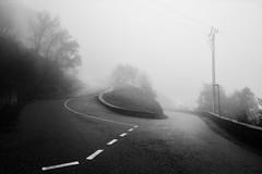 Bifurcation-dans-le-brouillard (RS...) Tags: corse brouillard fog routes roads blackandwhite noiretblanc d800