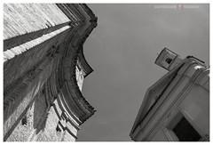 The challenge (GP Camera) Tags: nikond7100 sigma1770contemporary upward versolalto perspective prospettiva curves curve churches chiese architectures architetture walls muri bricks mattoni eaves cornicioni baroquestyle stilebarocco sky cielo towerbell campanile light luce shadows ombre lightandshadows lucieombre textures trame shades sfumature bw biancoenero monochrome monocromo whiteframe cornicebianca italy italia piemonte monferrato darktable gimp opensource freesoftware softwarelibero digitalprocessing elaborazionedigitale