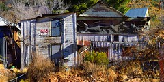 For Sale, by owner - Bisbee, Arizona (edk7) Tags: nikond3200 edk7 2013 us usa arizona cochisecounty bisbee house derelict scruffy old architecture building oldstructure city cityscape urban rock paint crusty tarpaper