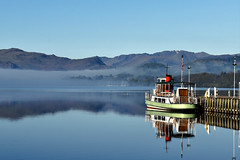 MV Western Belle, Ullswater, Cumbria, England (vincocamm) Tags: mvwesternbelle steamer ullswater misty helvelyn landscape nikon d5500 jetty landing birds view beautiful cumbria lakedistrict nationalpark reflection blue