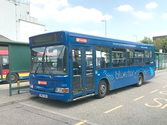 Trustybus .  Roydon , Essex . SN03EBU . Bishop's Stortford Bus Interchange , Hertfordshire . Tuesday 08th-May-2018 . (AndrewHA's) Tags: bishopsstortford hertfordshire bus trustybus roydon essex county tendered route 7 stansted airport sn03ebu transbus dennis dart alexander pointer second hand solent blue line southampton 572 go ahead south coast 3303 incorrect branding
